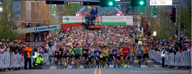 Runners at the start of the Oklahoma City Memorial Marathon