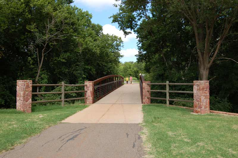 Bluff Creek Park is a popular space for walking, running and off-road cycling