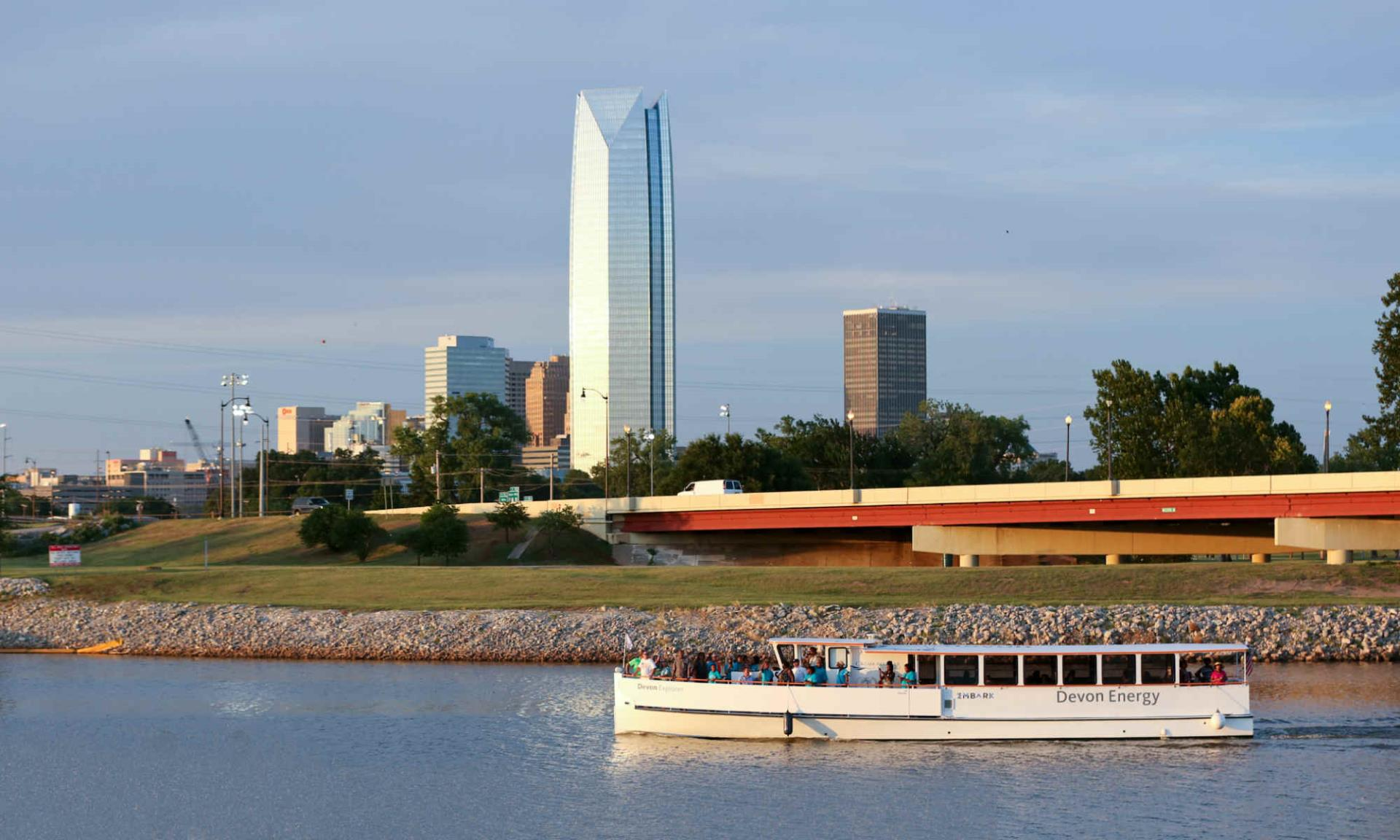 Downtown OKC and one of the Oklahoma River Boats