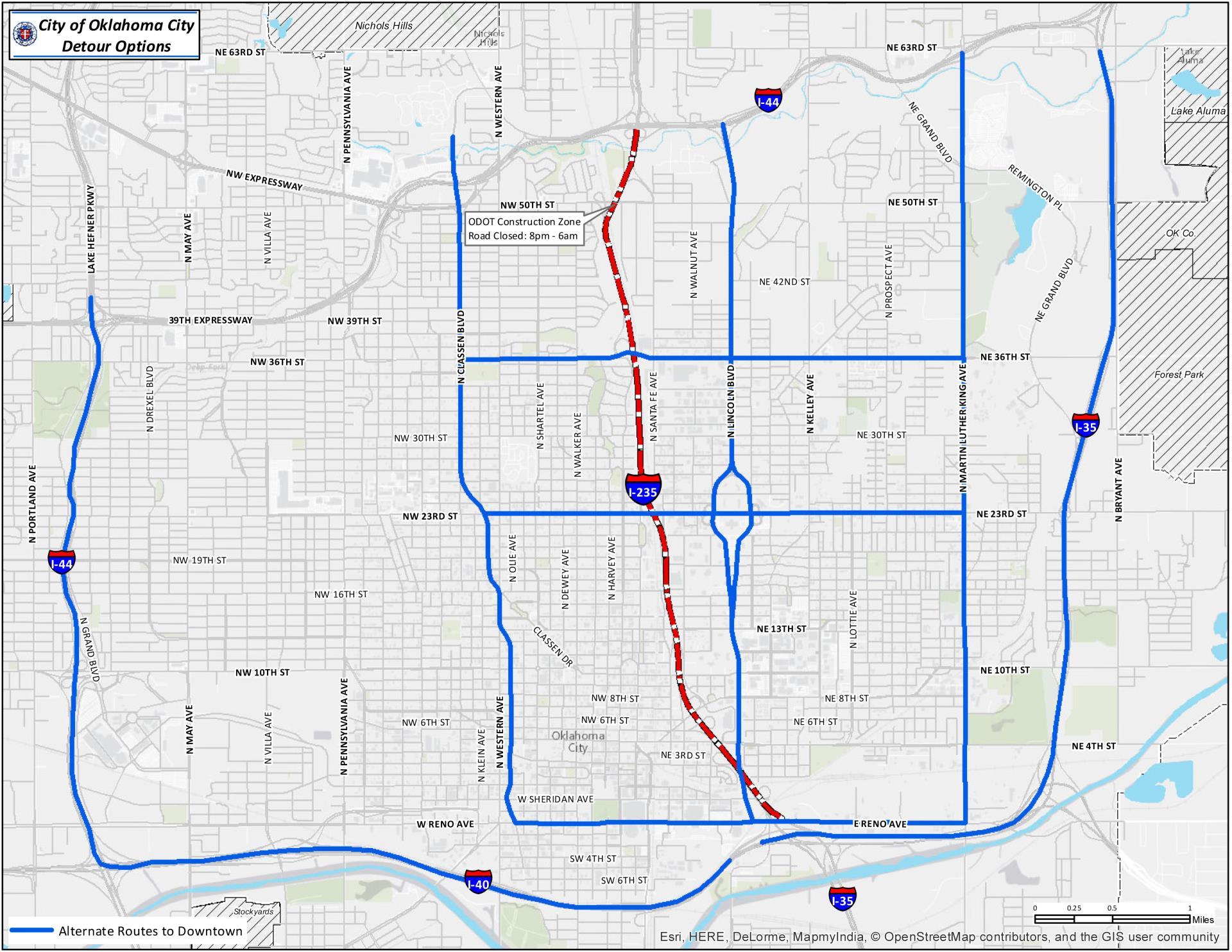 I 40 Oklahoma Map.Detour Options Available During I 235 Construction Kokh