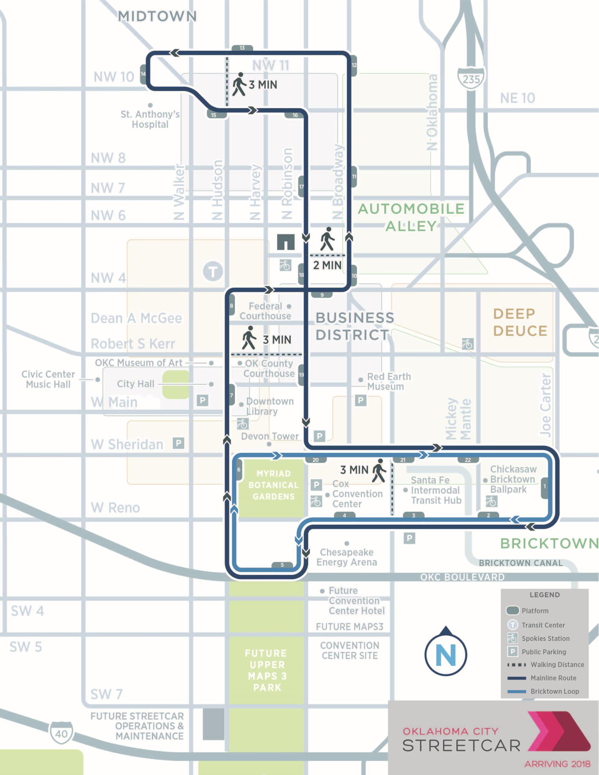 Streetcar Route Map with legend
