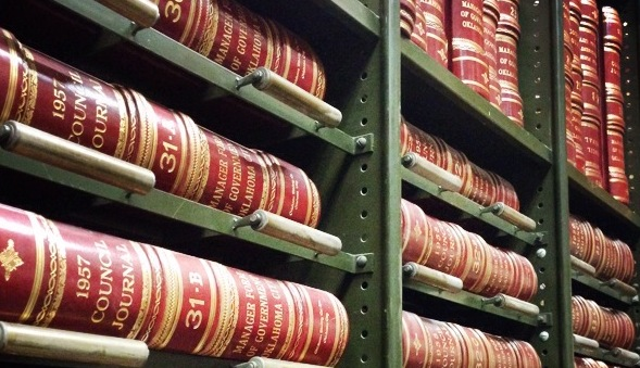 Bound volumes of City Council proceedings in the vault of the City Clerk's Office