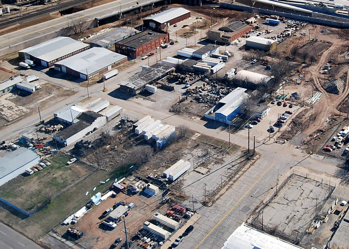 Photo from above of an industrial area in Oklahoma City