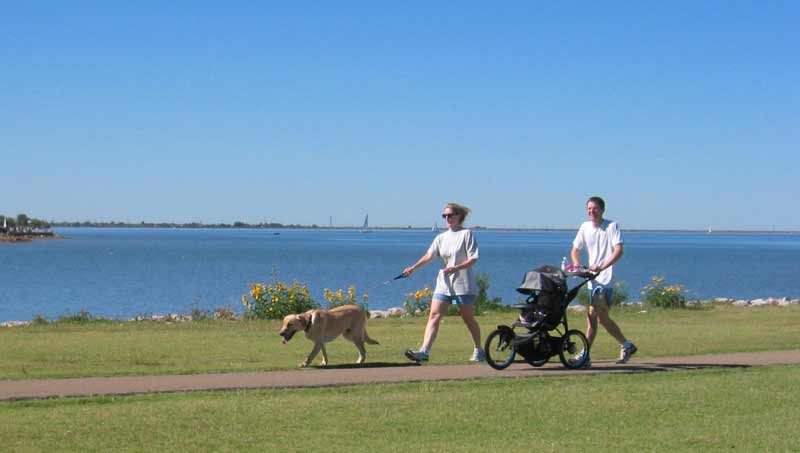 Walkers, strollers and canines enjoy the City's trails system