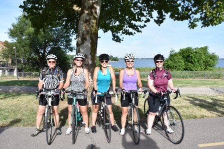 Cyclists get ready for the inaugural ride along the West River Trail