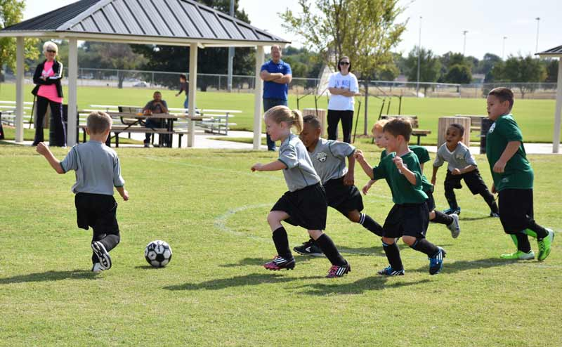 Junior soccer players take to the field at the Wendel Whisenhunt Sports Complex