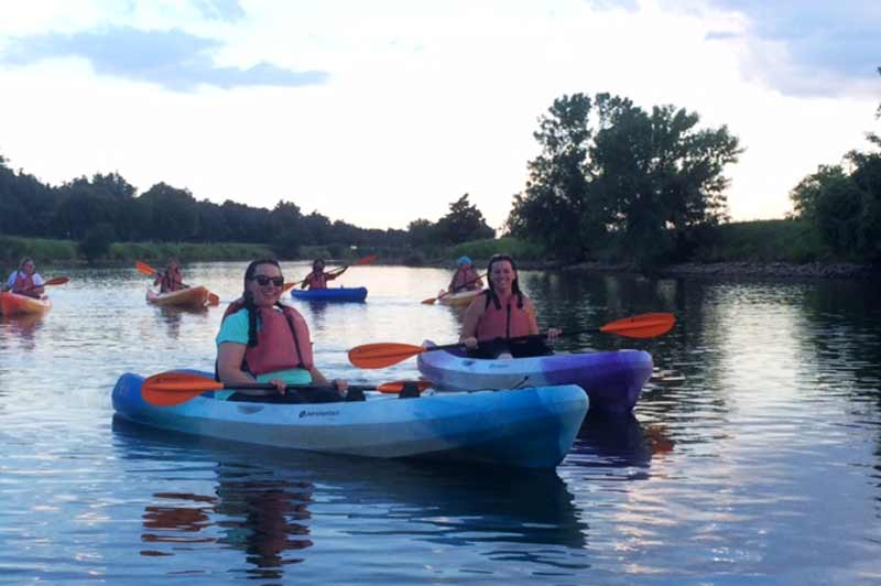 Participants enjoy learning to kayak during Adult Nature Night